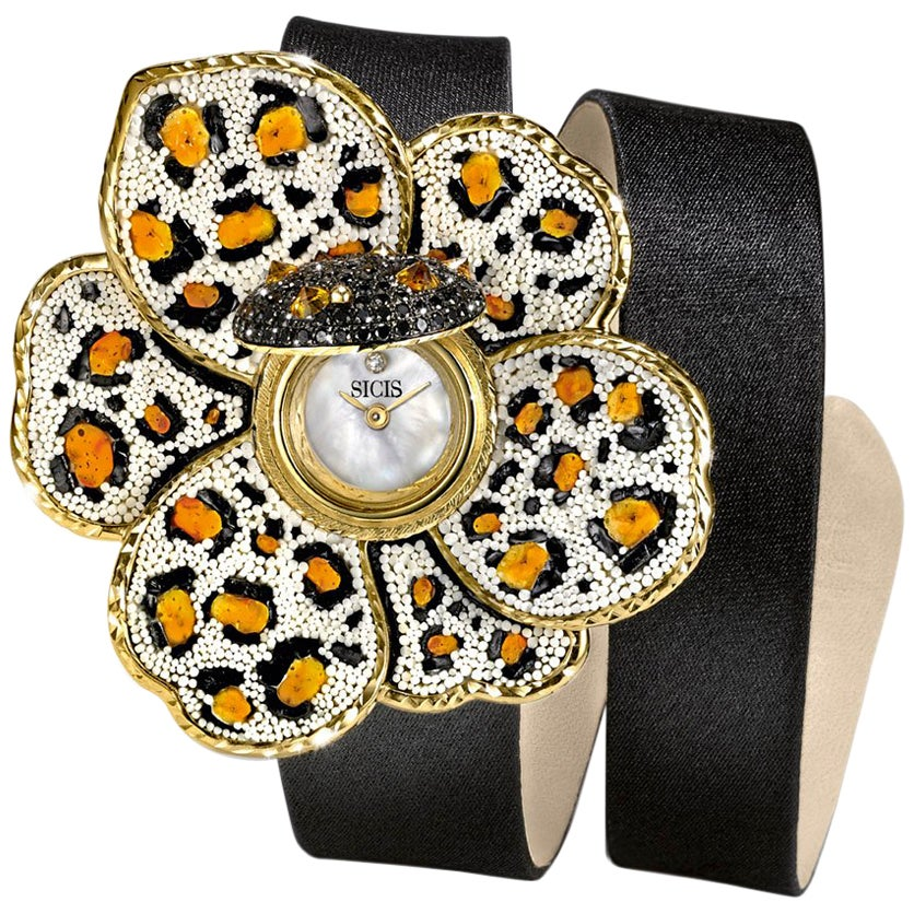 Stylish Wristwatch Gold White & Black Diamonds Sapphires Satin Strap NanoMosaic