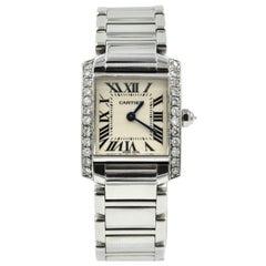 Cartier Ladies Stainless Steel Diamond Tank Francaise quartz Wristwatch