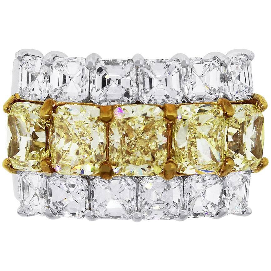 GIA Certified Fancy Yellow Radiant Cut and Asscher Cut Diamond Band