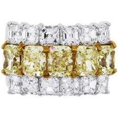 GIA Certified Fancy Yellow Radiant Cut and Asscher Cut Diamond Band