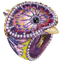 Quetzal Morado White Diamond Yellow Gold Titanium Micromosaic Ring