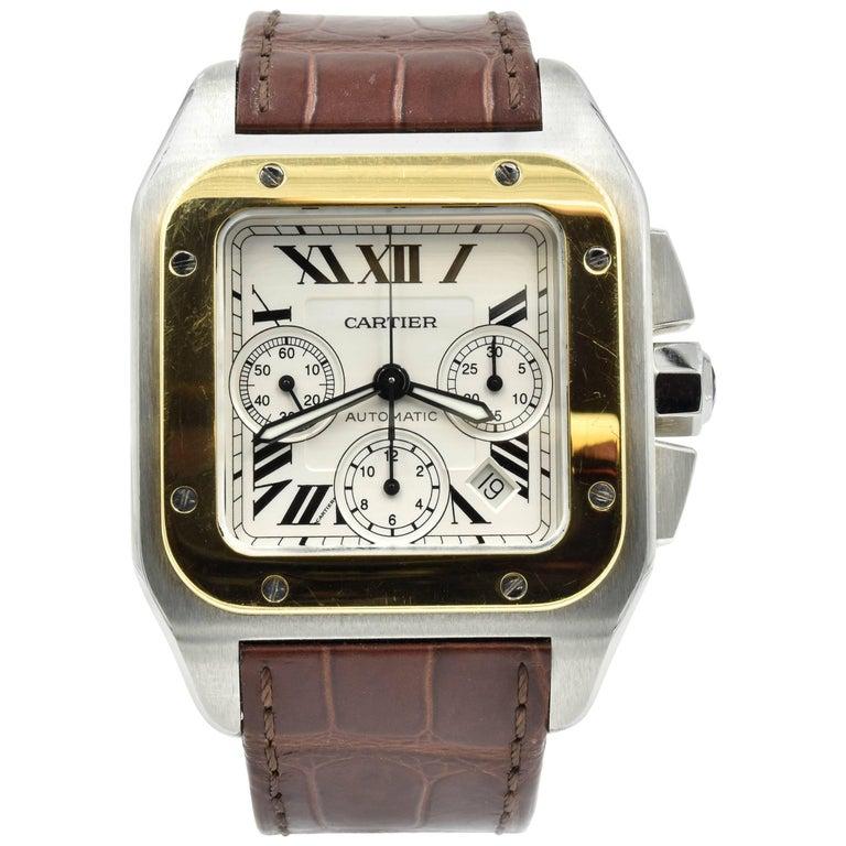 Cartier Santos Two-Tone 18k Yellow Gold Automatic Watch W20072X7