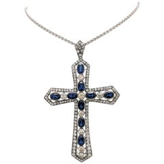 18 Karat White Gold Diamond and Sapphire Cross Pendant Necklace 14 Carat