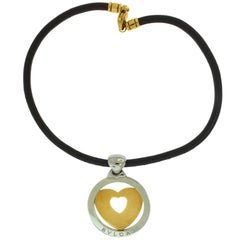 Bvlgari Tondo Large Round Heart Yellow Gold and Steel Pendant with Leather Chain