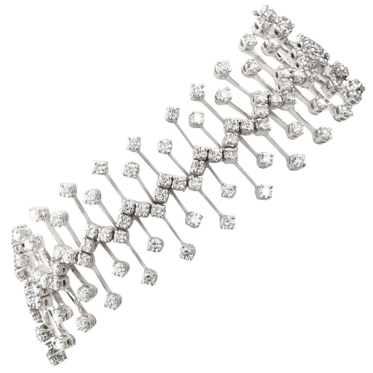 10 Carat Lace Diamond White Gold Tennis Bracelet