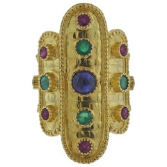 Lalaounis Greece Sapphire Ruby Emerald Gold Ring