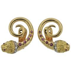 Lalaounis Greece Ruby Diamond Gold Chimera Earrings