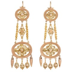 Early 19th Century Gold Chandelier Earrings with Filigree
