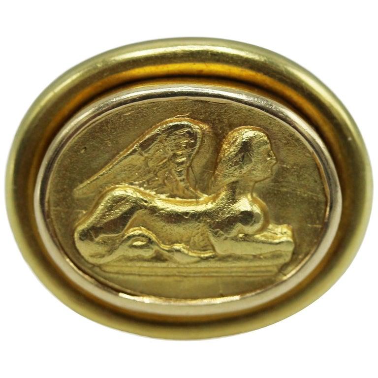 Elizabeth Locke Gold Sphinx Ring For Sale