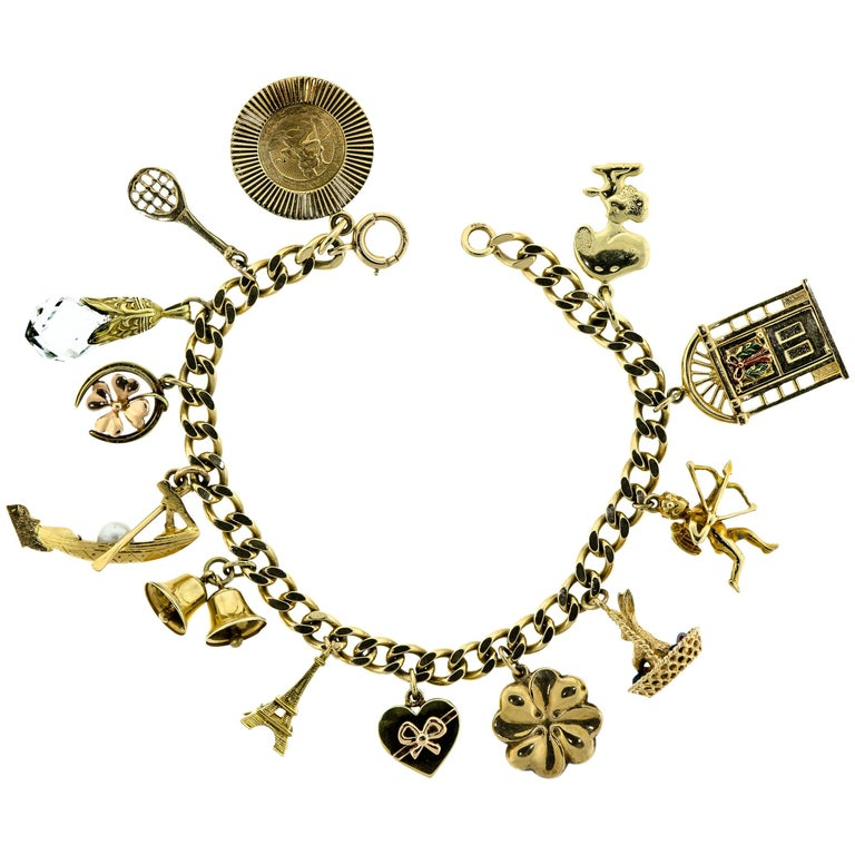 Flexible Curblink Charm Bracelet with 13 Gold Charms
