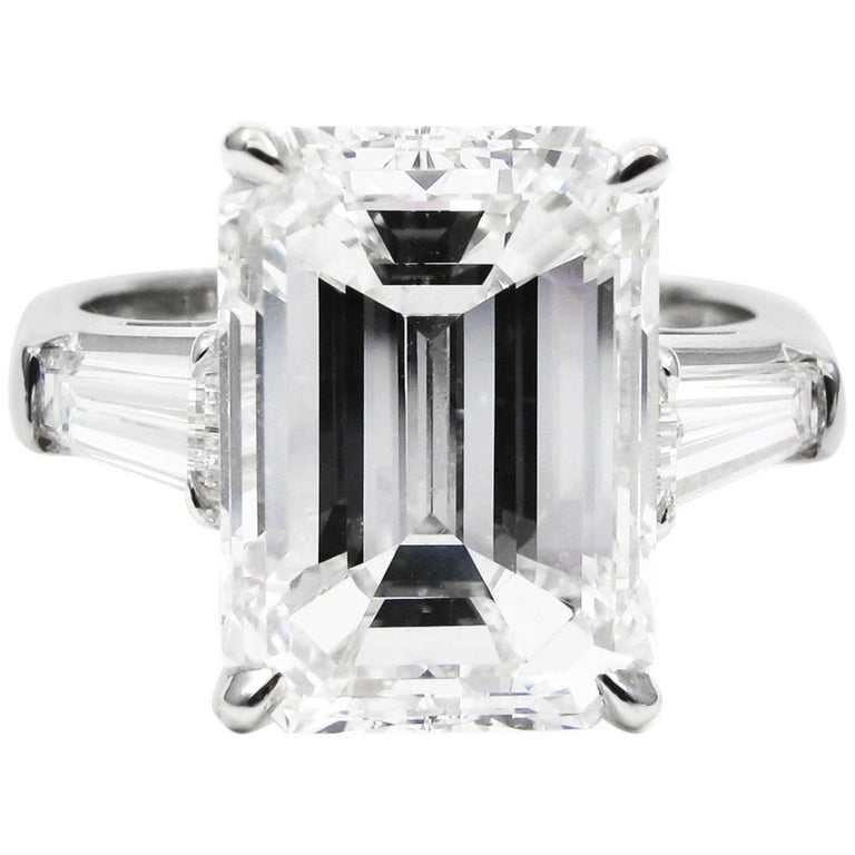 GIA Certified 5.81 Carat Emerald Cut Diamond Classic Platinum J. Birnbach ring