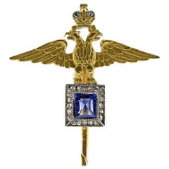 Rare Antique Fabergé Diamond Sapphire Gold Imperial Tie-Stick Pin Original Case