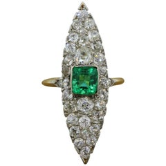 Antique Emerald Diamond Gold Navette Ring