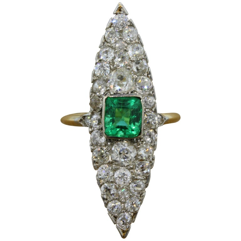 Antique Emerald Diamond Gold Navette Ring For Sale