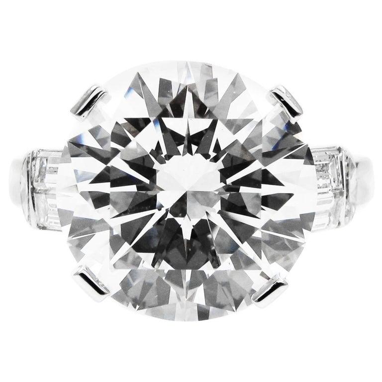 GIA Certified 7.10 Carat Triple X HVS1 Round Brilliant Cut Diamond Platinum Ring For Sale