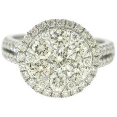 Large Round Halo 2.24 Carat Diamond Engagement Ring in 18 Karat White Gold