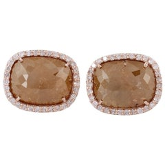 Yellow Brown Bold Ice Diamond Stud
