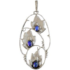 1920s Otto Stuber Art Deco Opal Silver Floral Pendant