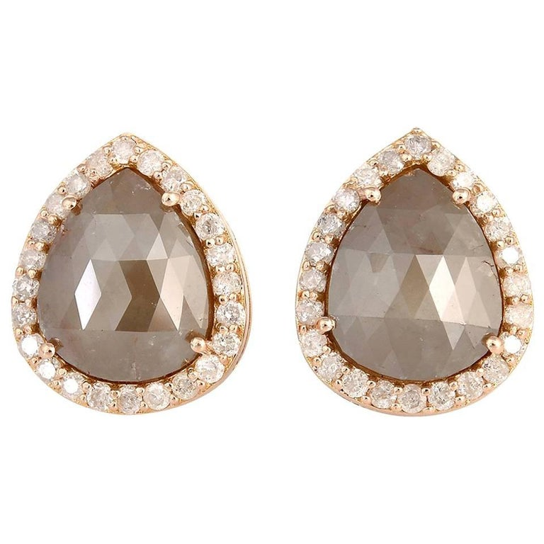 Pretty Pear Shape Ice Diamond Studs For