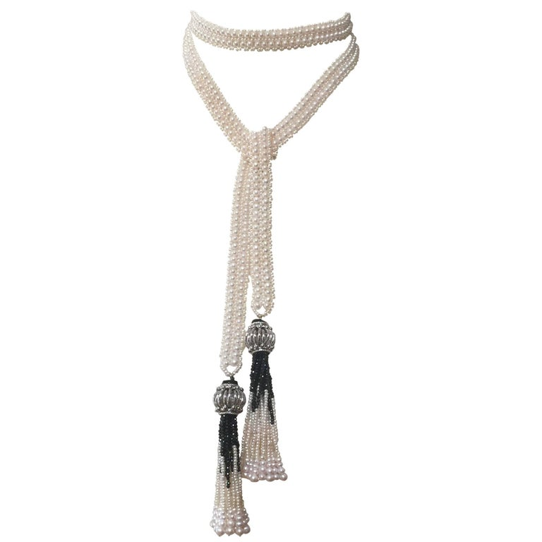 Double Strand Pearl Sautoir with Onyx and Pearl Tassels by Marina J