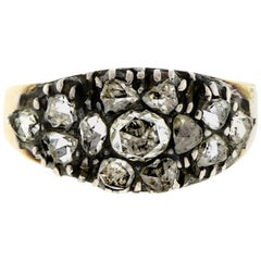 Early Victorian Silver Topped Yellow Gold Rose Cut Diamond Ring