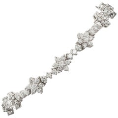 7 Carat Flowers Tennis Bracelet Diamond in White Gold