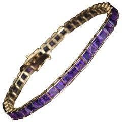 Square Cut Amethyst Gold Line Bracelet