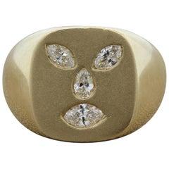 Gentlemen Diamond Gold Face Ring