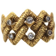 Buccellati Textured Braided Ring 18 Karat Diamonds