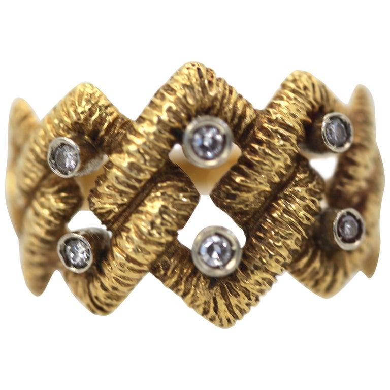 Buccellati Textured Braided Ring 18 Karat Diamonds