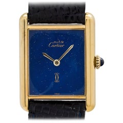 Cartier Vermeil Tank Louis Lapis Dial manual wristwatch, circa 1970s