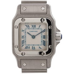 "Cartier Ladies Stainless Steel Santos ""Blue"" quartz wristwatch, circa 2000s"
