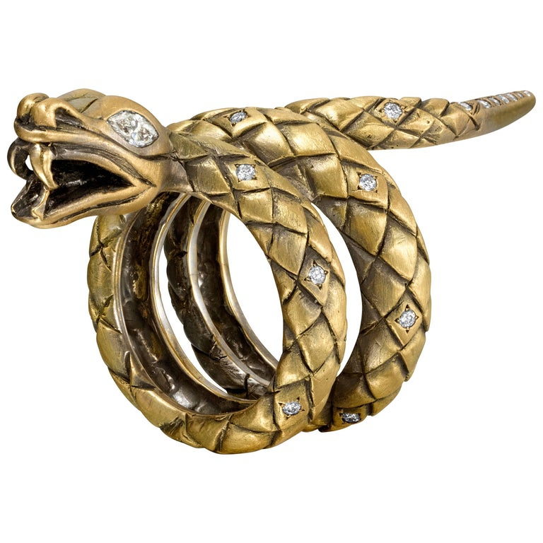 Wendy Brandes Marquise Diamond Yellow Gold Snake Ring