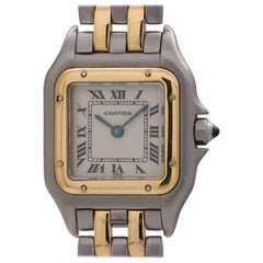 Cartier ladies yellow gold stainless steel Panther quartz wristwatch, c1990s