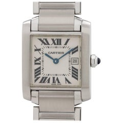 Cartier Stainless Steel Tank Francaise Midsize Quartz Wristwatch
