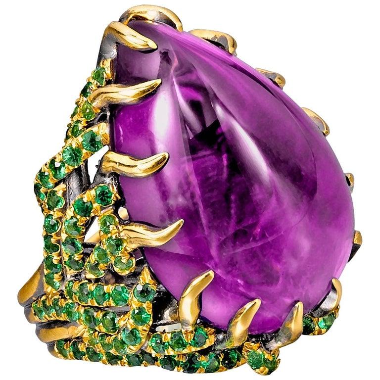 "Wendy Brandes ""Marie Antoinette"" 27.64 Carat Amethyst and Tsavorite Gold Ring For Sale"