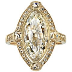 2.77 Carat Vintage Moval Cut Diamond Ring
