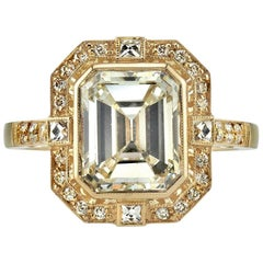 3.14 Carat Emerald Cut Diamond Engagement Ring