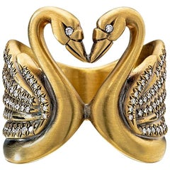 Wendy Brandes Diamond Yellow Gold Heart Kissing Swan Bird Ring