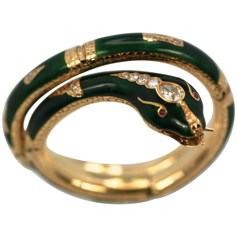 Diamond Guilloche Enamel Snake Serpent Bracelet 18 Karat 2.25 Carat
