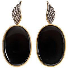 Wendy Brandes Onyx and Diamond Yellow Gold Earrings
