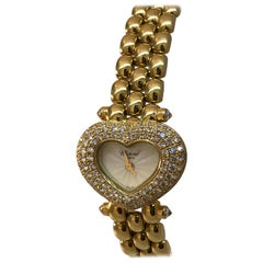 Chopard Ladies Yellow Gold Diamond Heart Shaped Bracelet Wristwatch