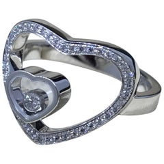 Chopard Happy Diamonds 18 Karat White Gold Diamond Heart Shaped Ring