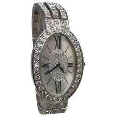 Chopard Ladies White Gold Pave Diamond Les Classiques Oval Wristwatch