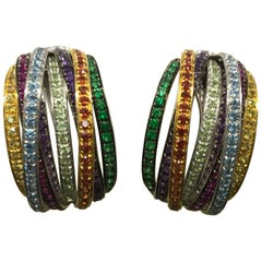 De Grisogono Allegra 18 Karat White Gold Colorful Stones Earrings