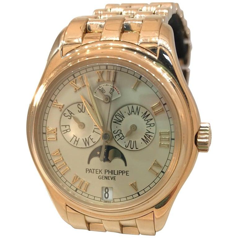 Patek Philippe rose gold Annual Calendar Bracelet Wristwatch Ref 5036/1R For Sale