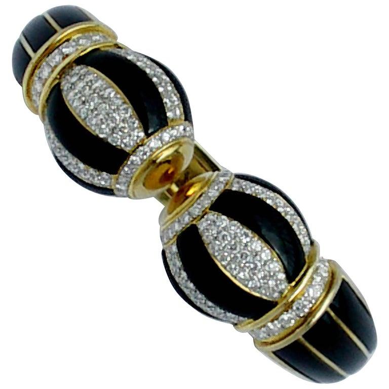 Onyx Stripes and Pave Diamond Gold Bombe Bracelet
