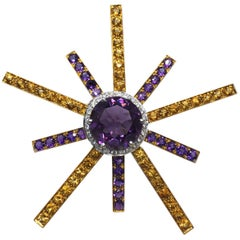 9 Carat Natural Brilliant Cut Amethyst White Diamond Citrine Quartz Star Brooch