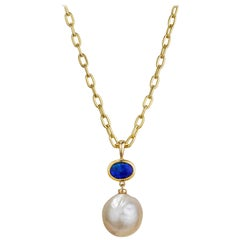 13 mm Kasumi Japanese Pearl, Solid Australian Opal and 18 Karat Gold Pendant