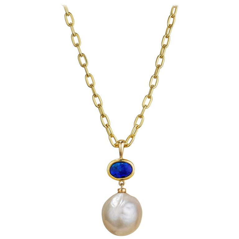 13 mm Kasumi Pearl, Solid Australian Opal and 18 Karat Gold Pendant Necklace For Sale